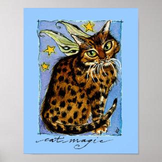 Hada Ocicat de la fantasía del gato Póster