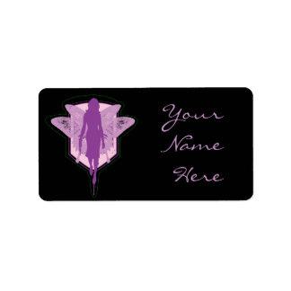 Hada púrpura etiqueta de dirección
