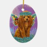 Hada roja del perrito del caniche del albaricoque ornamentos de navidad
