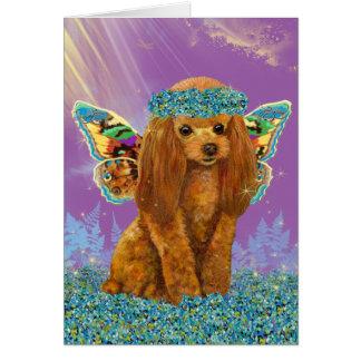 Hada roja del perrito del caniche del albaricoque tarjeta de felicitación