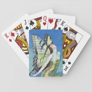 Hada roja del vintage del pelo de la mariposa de barajas de cartas