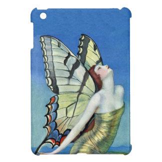 Hada roja del vintage del pelo de la mariposa de m iPad mini coberturas