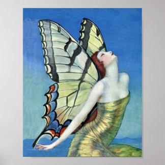 Hada roja del vintage del pelo de la mariposa de m póster