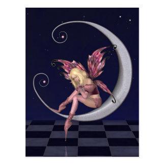 Hada rosada bonita de la luna en noche estrellada postales