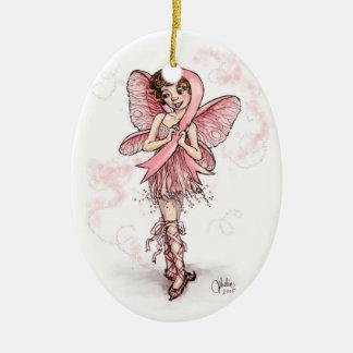 Hada rosada de la cinta adorno ovalado de cerámica