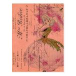 Hada rosada de la flor del vintage tarjetas postales