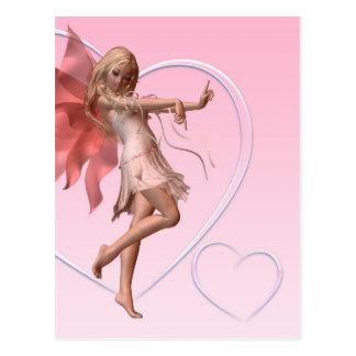 Hada rosada de la tarjeta del día de San Valentín Postal