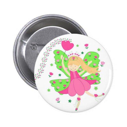Hada rosada de los tulipanes - botón del Pin