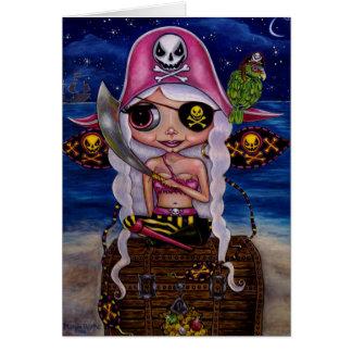 Hada rosada del pirata con el cofre del tesoro y tarjeta de felicitación