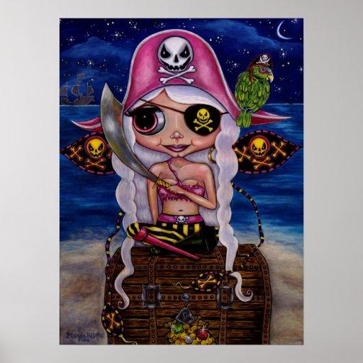 Hada rosada del pirata con el poster del tesoro