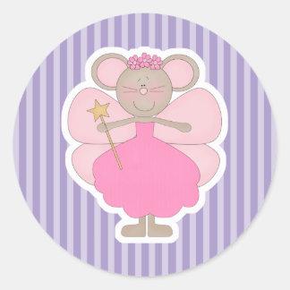 Hada rosada linda del ratón pegatina redonda