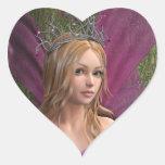 Hada rosada pegatina en forma de corazón