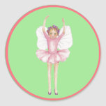 Hada rosada y verde de la bailarina pegatina redonda