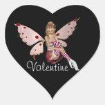 Hada rubia de la tarjeta del día de San Valentín - Pegatina Corazón Personalizadas