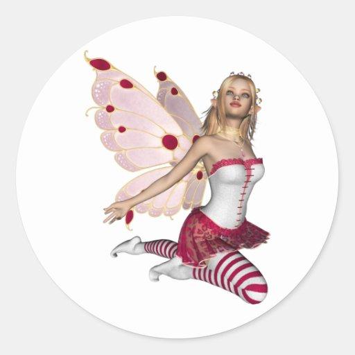 Hada rubia de la tarjeta del día de San Valentín - Pegatina Redonda