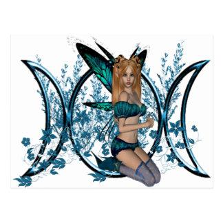 Hada triple azul del símbolo de la diosa de la lun postales