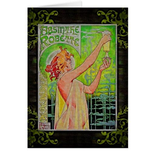 Hada única del verde del ajenjo del vintage tarjetón