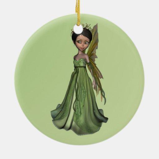 Hada verde adorno redondo de cerámica