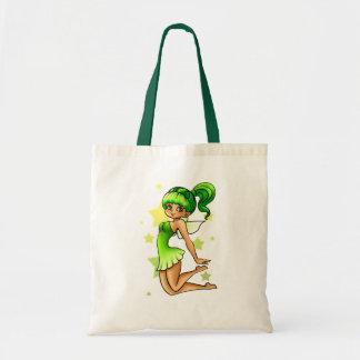 Hada verde bolsas lienzo