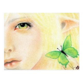 Hada verde de la mariposa tarjetas postales