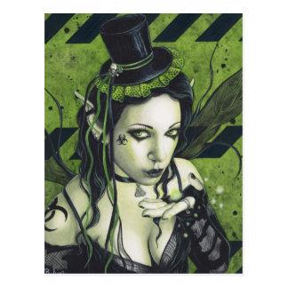 Hada verde gótica tóxica postal