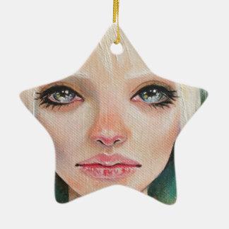 Hada verde minúscula adorno de cerámica en forma de estrella