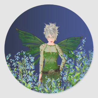 Hada verde - nomeolvides pegatina redonda