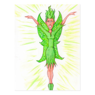 Hada verde tarjeta postal