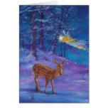 Hada y ciervos ilustrados del invierno en maderas  felicitacion