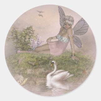 Hada y cisne pegatinas redondas