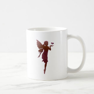 Hada y corazón que se besan rojos tazas de café