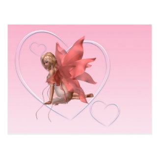 Hada y corazones rosados helados - 2 de la tarjeta postal