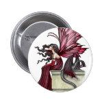 Hada y dragón rojos góticos de rubíes agitados pins