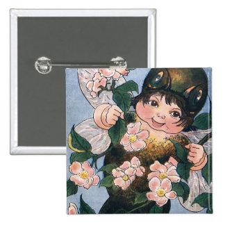Hada y flores de Apple Pin Cuadrada 5 Cm