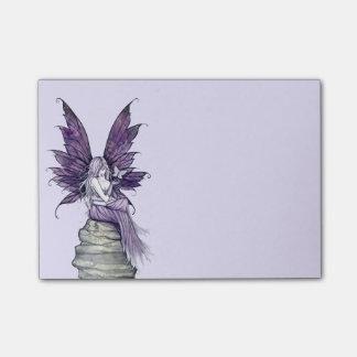 Hada y mariposa púrpuras bonitas post-it notas
