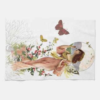 Hada y mariposas del Victorian Toallas De Mano