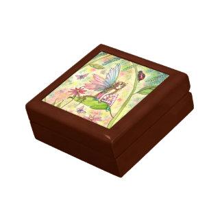 Hada y mariquita lindas de la flor de la primavera cajas de joyas