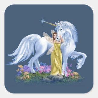 Hada y unicornio pegatina cuadrada