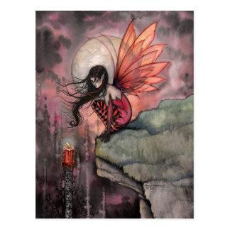 Hada y vela góticas del otoño de Halloween Tarjetas Postales