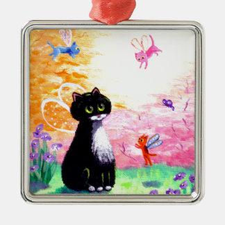 Hadas blancas negras Creationarts del gato del Adorno Navideño Cuadrado De Metal