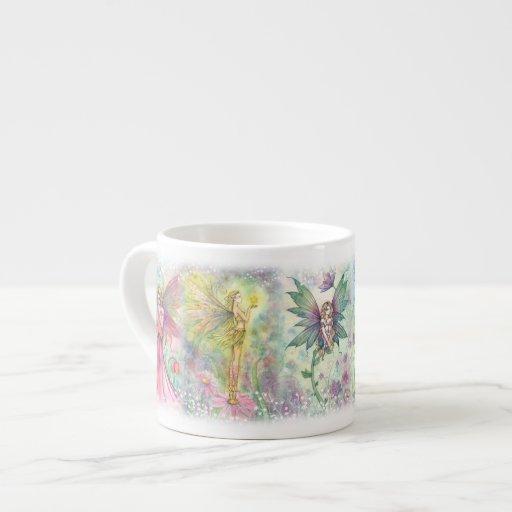 Hadas coloridas de la flor taza espresso