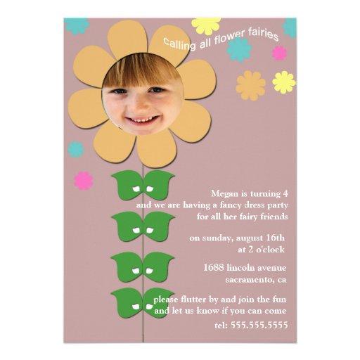 Hadas de la flor - la fiesta de cumpleaños invita invitacion personalizada