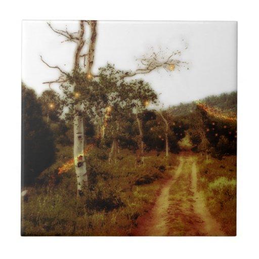 Hadas de la luciérnaga en un camino forestal polvo azulejos cerámicos