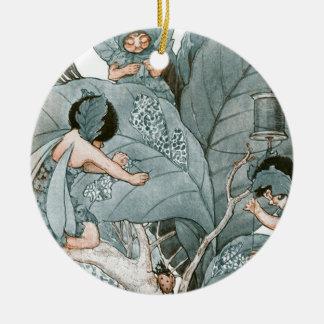 Hadas del fabricante de la hoja adorno navideño redondo de cerámica