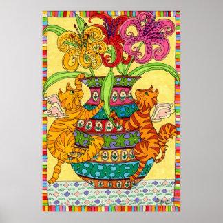 Hadas del gato con el florero adornado de lirios póster
