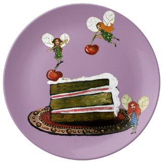 Hadas del tiempo de la torta plato de cerámica