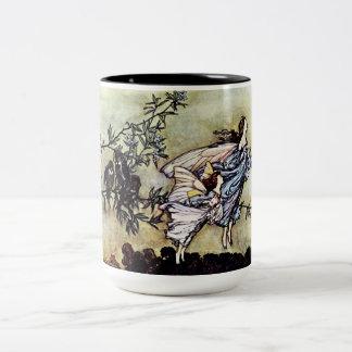 Hadas en el jardín taza de dos tonos
