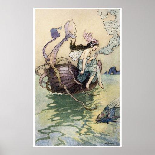 Hadas en la impresión de la costa de Warwick Goble Posters