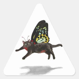 hadas hinchadas rojo del gatito de la mariposa del pegatina trianguladas personalizadas