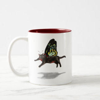 hadas hinchadas rojo del gatito de la mariposa del tazas